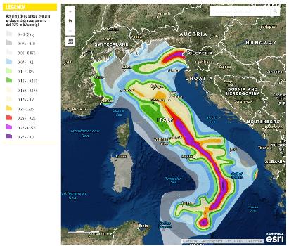 mappa pericolosità sismica Italia 2004
