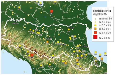 distribuzione sismicità storica Emilia Romagna dal 1000 al 2006