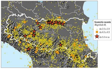 distribuzione sismicità storica Emilia Romagna dal 1981 al 2013