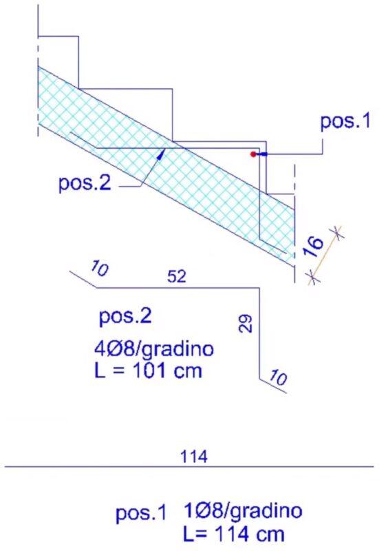 armatura falso gradino scala cemento armato